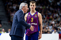 Coach Svetislav Pesic and Kevin Pangos of FC Barcelona Lassa during Turkish Airlines Euroleague match between Real Madrid and FC Barcelona Lassa at Wizink Center in Madrid, Spain. December 13, 2018. (ALTERPHOTOS/Borja B.Hojas) /NortePhoto.com