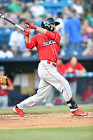 Lakewood BlueClaws right fielder Cord Sandberg (32) swings at a pitch during a game against the Asheville Tourists at McCormick Field on June 2, 2017 in Asheville, North Carolina. The Tourists defeated the BlueClaws 7-5. (Tony Farlow/Four Seam Images)