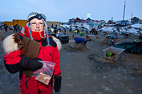 Nome dog lot volunteer coordinator Kathleen Zwolak of Chicago during the 2010 Iditarod