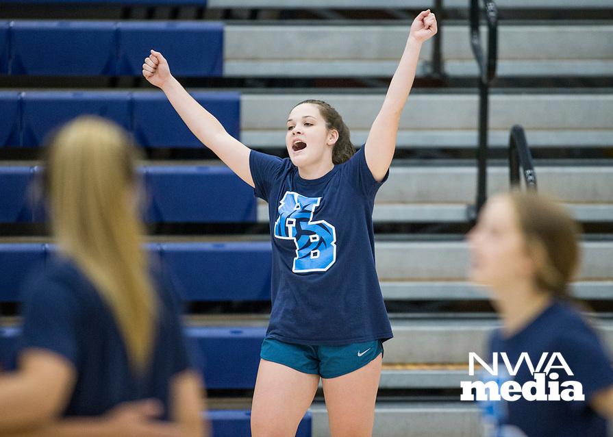NWA Democrat-Gazette/BEN GOFF @NWABENGOFF<br /> Lauren Cloud, Springdale Har-Ber senior, celebrates a point Thursday, Aug. 9, 2018, during volleyball practice at Wildcat Arena in Springdale.
