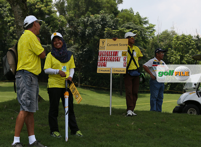 Scoreboard showing the status of play before Michael Hoey (NIR) three birdie collapse during Round Three of the 2014 Maybank Malaysian Open at the Kuala Lumpur Golf & Country Club, Kuala Lumpur, Malaysia. Picture:  David Lloyd / www.golffile.ie