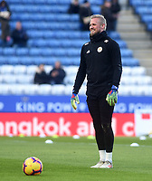 Leicester City's Kasper Schmeichel during the pre-match warm-up <br /> <br /> Photographer Hannah Fountain/CameraSport<br /> <br /> The Premier League - Leicester City v Manchester United - Sunday 3rd February 2019 - King Power Stadium - Leicester<br /> <br /> World Copyright © 2019 CameraSport. All rights reserved. 43 Linden Ave. Countesthorpe. Leicester. England. LE8 5PG - Tel: +44 (0) 116 277 4147 - admin@camerasport.com - www.camerasport.com