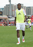 29 June 2013: Real Salt Lake defender Aaron Maund #4 walks off the pitch after warm-ups during an MLS game between Real Salt Lake and Toronto FC at BMO Field in Toronto, Ontario Canada.<br /> Real Salt Lake won 1-0.
