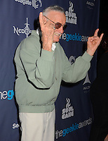 Stan Lee<br /> The first annual Geekie Awards at The Avalon Hollywood in Hollywood, CA., USA.  <br /> August 18th, 2013<br /> half length green grey gray jacket tinted glasses sunglasses shades hands arms finger devil sign gesture profile moustache mustache facial hair <br /> CAP/ADM/BT<br /> &copy;Birdie Thompson/AdMedia/Capital Pictures
