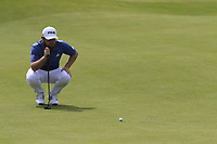 Tyrrell Hatton (ENG) on the 6th green during Thursday's Round 1 of the Dubai Duty Free Irish Open 2019, held at Lahinch Golf Club, Lahinch, Ireland. 4th July 2019.<br /> Picture: Eoin Clarke | Golffile<br /> <br /> <br /> All photos usage must carry mandatory copyright credit (© Golffile | Eoin Clarke)
