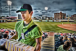 Popcorn vendor at the ballgame. Fifth Third Field in Dayton Ohio. Part of the Americana series.