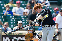 Outfielder Clint Frazier #19 of Loganville High School in Georgia participates in the home run derby before participating in the Under Armour All-American Game powered by Baseball Factory at Wrigley Field on August 18, 2012 in Chicago, Illinois.  (Mike Janes/Four Seam Images)