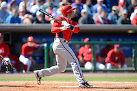 Washington Nationals infielder Steve Lombardozzi #1 during a Spring Training game against the Philadelphia Phillies at Bright House Field on March 6, 2013 in Clearwater, Florida.  Philadelphia defeated Washington 6-3.  (Mike Janes/Four Seam Images)