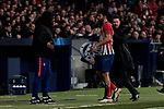 Atletico de Madrid's (L-R) second coach German El Mono Burgos, Diego Costa and coach Diego Pablo Simeone during UEFA Champions League match, Round of 16, 1st leg between Atletico de Madrid and Juventus at Wanda Metropolitano Stadium in Madrid, Spain. February 20, 2019. (ALTERPHOTOS/A. Perez Meca)