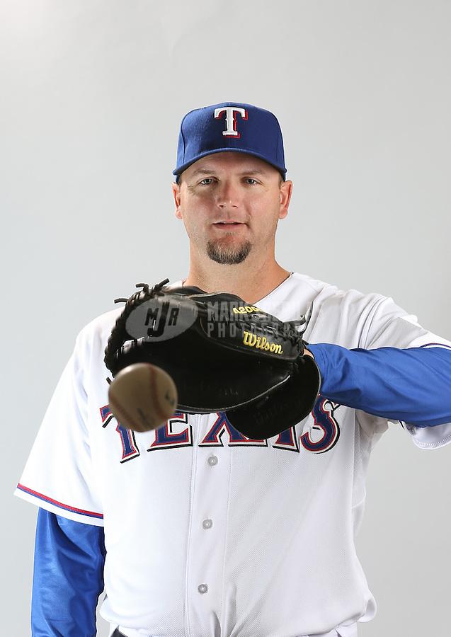 Feb. 20, 2013; Surprise, AZ, USA: Texas Rangers catcher A.J. Pierzynski poses for a portrait during photo day at Surprise Stadium. Mandatory Credit: Mark J. Rebilas-