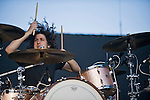 Angels and Airwaves drummer Ilan Rubin performs during the KROQ Weenie Roast y Fiesta Saturday.