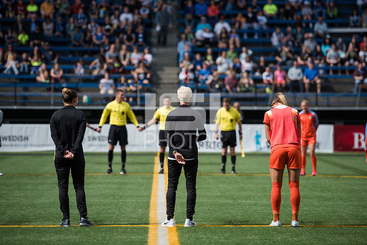 Seattle, Washington - Sunday, June 12, 2016: Seattle Reign and Houston Dash players come together for a moment of silence for Orlando prior to a regular season National Women's Soccer League (NWSL) match at Memorial Stadium. Seattle won 1-0.