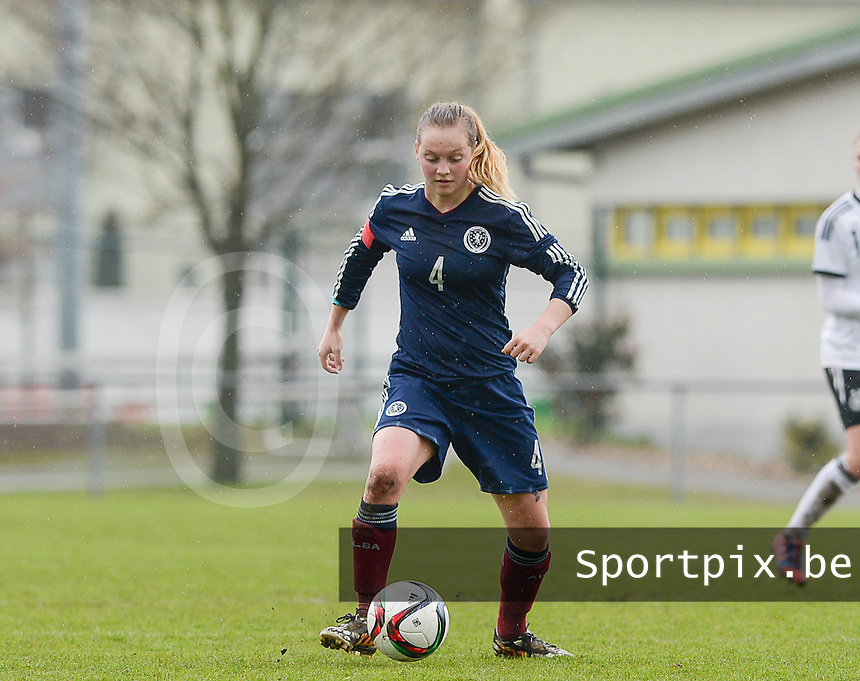 20150404 - FORST , GERMANY  : Scottish Lucy Graham pictured during the soccer match between Women Under 19 teams of Germany and Scotland , on the first matchday in group 5 of the UEFA Elite Round Women Under 19 at WaldseeStadion , Forst , Germany . Saturday 4th April 2015 . PHOTO DAVID CATRY