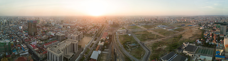 January 27, 2017 - Phnom Penh (Cambodia). Aerial panoramic view of Beoung Kak. © Thomas Cristofoletti / Ruom
