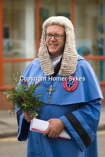 Dunmow Flitch Trial. Great Dunmow, Essex. UK 2008. Mock trial Judge, is infact local solicitor Michael Chapman.