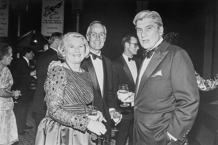 Sen. Slade Gorton, R-Wash. and wife Sally with Sen. John Warner, R-Va., at the Gourmet Gala on Mar. 8, 1993. (Photo by Laura Patterson/CQ Roll Call)