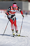 Maiken Caspersen Falla in action at the sprint qualification of the FIS Cross Country Ski World Cup  in Dobbiaco, Toblach, on January 14, 2017. Credit: Pierre Teyssot