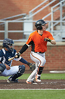 Preston Palmeiro (7) of the Frederick Keys follows through on his swing against the Buies Creek Astros at Jim Perry Stadium on April 28, 2018 in Buies Creek, North Carolina. The Astros defeated the Keys 9-4.  (Brian Westerholt/Four Seam Images)