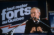 Vimont County, Canada, April 06 1981. Leader of the Parti Québécois, René Lévesque, during his legislative elections campaign of Quebec, scheduled for 13 April.