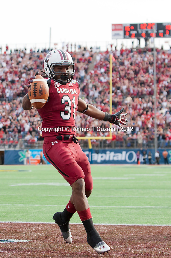 January 2, 2012: South Carolina Gamecocks running back Kenny Miles (31) TD reception during second half game action in the Capital One Bowl between the Nebraska Cornhuskers and the South Carolina Gamecocks. South Carolina defeated Nebraska 30-13 at the Citrus Bowl in Orlando, Fl.