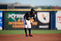Quad Cities River Bandits shortstop Marcos Almonte (1) during a game against the Lake County Captains on May 6, 2017 at Modern Woodmen Park in Davenport, Iowa.  Lake County defeated Quad Cities 13-3.  (Mike Janes/Four Seam Images)