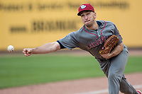 Lehigh Valley IronPigs pitcher Pat Venditte (5) warms up before going into the game against the Toledo Mud Hens during the International League baseball game on April 30, 2017 at Fifth Third Field in Toledo, Ohio. Toledo defeated Lehigh Valley 6-4. (Andrew Woolley/Four Seam Images)