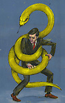 Illustrative image of businessman wrapped in green snake representing business crime