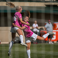 STANFORD, CA - OCTOBER 12: Carly Malatskey #6 of the Stanford Cardinal celebrates her goal with Abby Greubel #24 during a game between the Stanford Cardinal and Washington Huskies women's soccer teams at Cagan Stadium on October 6, 2019 in Stanford, California. during a game between University of Washington and Stanford Soccer W at Laird Q. Cagan Stadium on October 12, 2019 in Stanford, California.