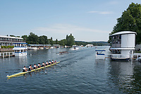 """Henley on Thames, United Kingdom, 4th July 2018, Thursday, View,  second day of the annual,  """"Henley Royal Regatta"""", Henley Reach, River Thames, Thames Valley, England, © Peter SPURRIER,"""