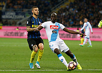 Kalidou Koulibaly  during the  italian serie a soccer match,between Inter FC  and SSC Napoli      at  the San Siro   stadium in Milan  Italy , April  30, 2017
