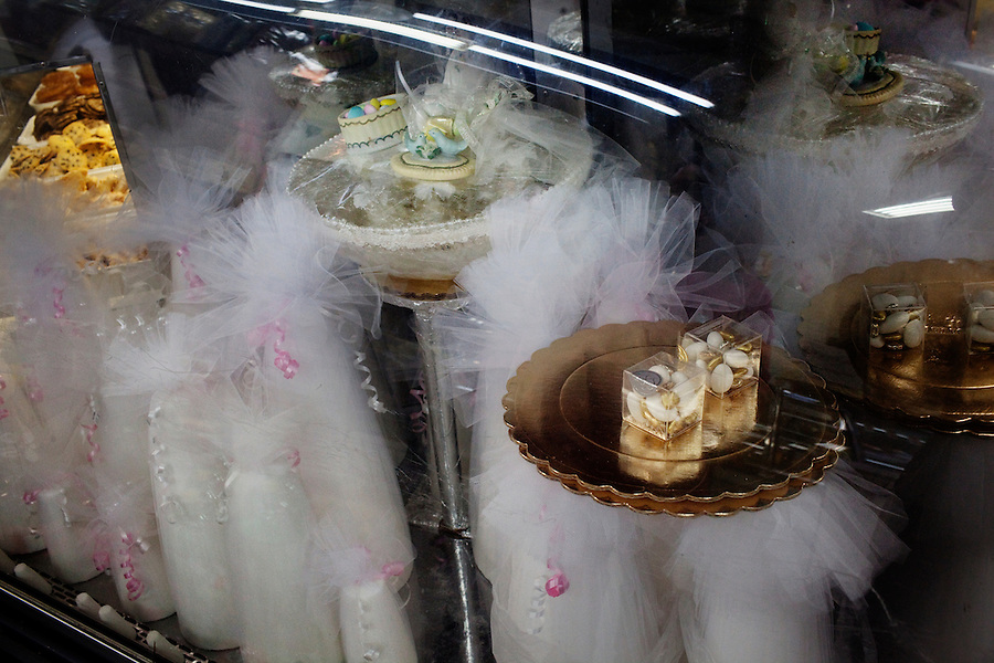 Los Angeles, California, March 20, 2011 - Wedding sugar towers line a display case in the Persian Jewish Elat Market in the Pico/Robertson neighborhood of Beverly Hills. ..