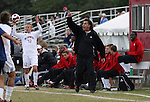 10 November 2007: NC State head coach George Tarantini yells instructions as Tyler Lassiter (12) prepares to take a thrown in. The Duke University Blue Devils defeated the North Carolina State University Wolfpack 2-0 at Method Road Soccer Stadium in Raleigh, North Carolina in an Atlantic Coast Conference NCAA Division I Men's Soccer game.
