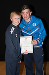 St Johnstone FC Academy Awards Night...06.04.15  Perth Concert Hall<br /> Craig Thomson presents a certificate to Ross Cameron<br /> Picture by Graeme Hart.<br /> Copyright Perthshire Picture Agency<br /> Tel: 01738 623350  Mobile: 07990 594431