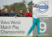 15.10.2014. The London Golf Club, Ash, England. The Volvo World Match Play Golf Championship.  Day 1 group stage matches.  Jonas Blixt [SWE] tee shot on the ninth.