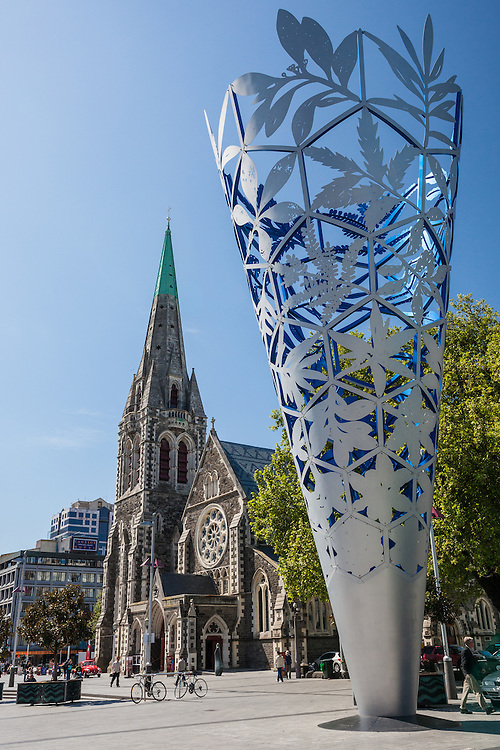 The Chalice Sculpture and Christchurch Cathedral, late afternoon, Cathedral Square, Christchurch,New Zealand - stock photo, canvas, fine art print