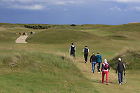 Gary Hurley (IRL), Paul Dunne (IRL) and Kate Whyte with Tony Goode (Ireland team Captain) and Cora Harris walking down the 4th during Round 3 of the East of Ireland Amateur Open Championship at Co. Louth Golf Club in Baltray on Sunday 4th June 2017.<br />