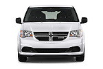 Car photography straight front view of a 2018 Dodge Grand-Caravan SE 5 Door Minivan Front View