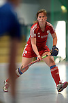 GER - Mannheim, Germany, December 19: During the 1. Bundesliga Sued Damen indoor hockey match between Mannheimer HC (blue) and Nuernberger HTC (red) on December 19, 2015 at Irma-Roechling-Halle in Mannheim, Germany. Final score 8-2 (HT 3-2). (Photo by Dirk Markgraf / www.265-images.com) *** Local caption *** Jana Borgmann #28 of Nuernberger HTC