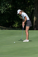 NWA Democrat-Gazette/SPENCER TIREY    <br /> Rogers Heritage golfer Kennedy Walters competes hits a putt during a meet against Bentonville, Thursday Sept. 7, 2017.