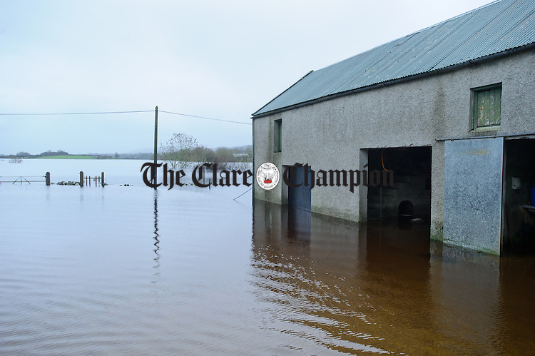 Empty farm yard...As flood waters rose, livestock was moved to neighbouring farms by the Coleman family in the Loughinwada area near Peterswell in South Galway. Photograph by John Kelly.