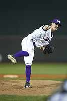 Winston-Salem Dash relief pitcher Danny Dopico (22) follows through on his delivery against the Salem Red Sox at BB&T Ballpark on April 20, 2018 in Winston-Salem, North Carolina.  The Red Sox defeated the Dash 10-3.  (Brian Westerholt/Four Seam Images)