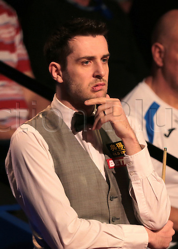 30.04.2016. The Crucible, Sheffield, England. World Snooker Championship. Semi Final, Mark Selby versus Marco Fu. Mark Selby reacts after a missed pot