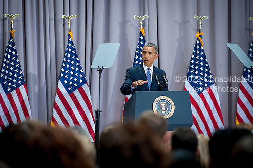 "United States President Barack Obama addresses American University's School of International Service in Washington, District of Columbia, U.S., on Wednesday, August 5, 2015. The speech focused on the Iran nuclear deal being debated in the US Congress.  American University was chosen as the venue by the White House because it is where former US President John F. Kennedy made his famous ""Pax Americana"" speech on nuclear disarmament in 1963. President Obama's Iran Deal speech at AU falls on the 52nd anniversary of the signing of the Limited Nuclear Test Ban Treaty. <br /> Credit: Pete Marovich / Pool via CNP"
