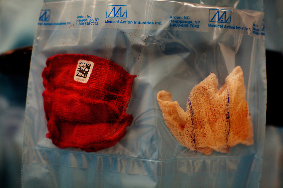 San Francisco, California, January 7, 2011 - Used gauze in a plastic pouch that is catalogued after a brain surgery at the University of California San Francisco Medical Center. All components used in the surgery must be accounted for no matter how seemingly trivial. .
