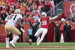 Wisconsin Badgers kicker Zach Hintze (39) kicks off during an NCAA College Football Big Ten Conference game against the Purdue Boilermakers Saturday, October 14, 2017, in Madison, Wis. The Badgers won 17-9. (Photo by David Stluka)