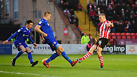 Lincoln City's Harry Anderson scores the opening goal<br /> <br /> Photographer Chris Vaughan/CameraSport<br /> <br /> The EFL Sky Bet League Two - Saturday 15th December 2018 - Lincoln City v Morecambe - Sincil Bank - Lincoln<br /> <br /> World Copyright © 2018 CameraSport. All rights reserved. 43 Linden Ave. Countesthorpe. Leicester. England. LE8 5PG - Tel: +44 (0) 116 277 4147 - admin@camerasport.com - www.camerasport.com