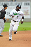 Chantz Mack #2 of the Clinton LumberKings heads toward third base against the Kane County Cougars at Ashford University Field on July 5, 2014 in Clinton, Iowa. The Cougars won 4-0.   (Dennis Hubbard/Four Seam Images)