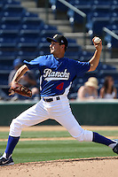 Ted Lilly #4 of the Rancho Cucamonga Quakes pitches against the Inland Empire 66'ers at The Epicenter on April 8, 2012 in Rancho Cucamonga,California. Inland Empire defeated Rancho Cucamonga 7-1.(Larry Goren/Four Seam Images)