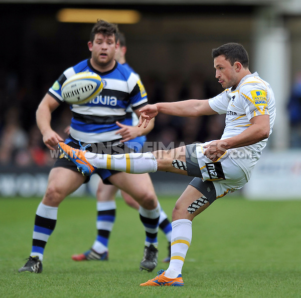 Jonny Arr box-kicks the ball clear. Aviva Premiership match, between Bath Rugby and Worcester Warriors on April 19, 2014 at the Recreation Ground in Bath, England. Photo by: Patrick Khachfe / Onside Images