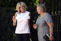 Pictured: (L-R) The wives of the two Presidents Brigitte Macron with Vlassia Pavlopoulou-Peltsemi at the Presidential Mansion in Athens, Greece. Thurday 07 September 2017<br /> Re: The official welcome of French President Emmanuel Macron for his state visit to Athens, Greece.